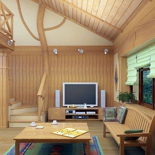 Довольно уютная комната для встречи с близкими друзьями, отделанная исключительно деревом