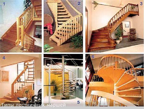 Фото: Примеры лестниц: на прямом (1), с поворотом на 90 градусов (2) и на округлом косоуре (3); на больцах (4); винтовая (5); спиралевидная разновидность винтовой (6).