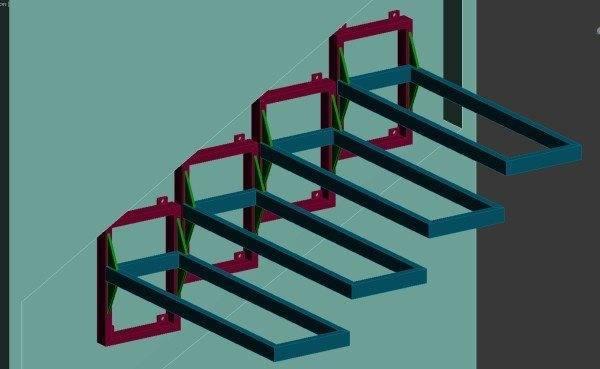 Графическое изображение самодельных консольных элементов, которые позволяют смонтировать на стену каркас, с последующей установкой ступеней