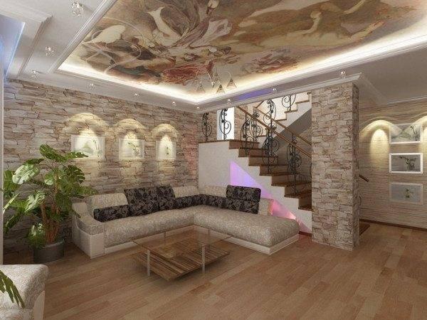 И лестница, и комната выдержаны в едином стиле