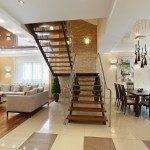 Интерьер гостиной с лестницей открытого типа