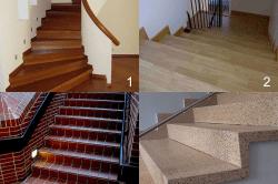 Использованные материалы при отделке бетонной конструкции: 1 – Дерево, 2 – Ламинат, 3 – Плитка, 4 - Мрамор.
