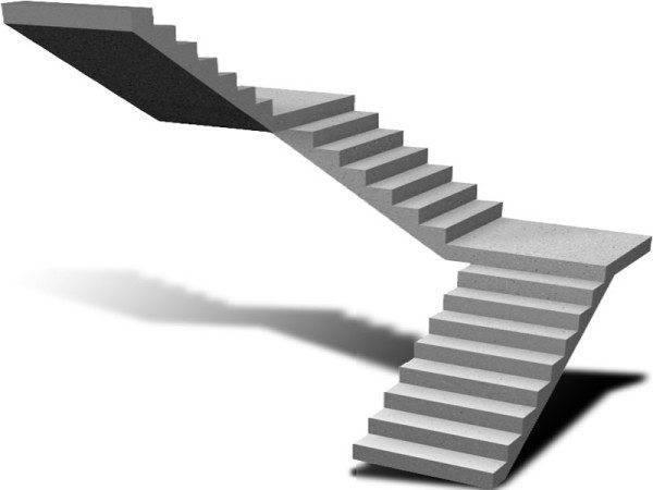 Лестница, разделенная площадками на короткие марши, более безопасна при спуске.