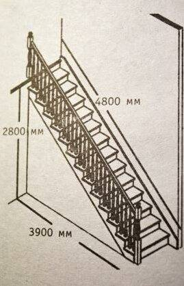 На фото - чертеж лестницы.