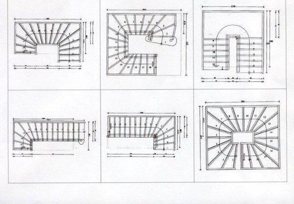 На фото – варианты лестниц, вид сверху.