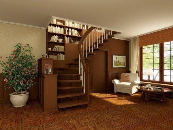 Поворотная лестница на второй этаж