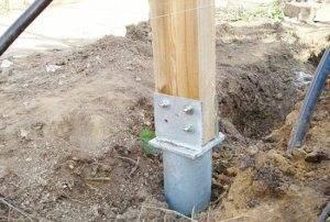 Пример установки стойки на столб