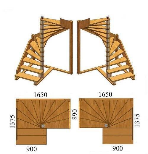 Простая схема винтовой лестницы