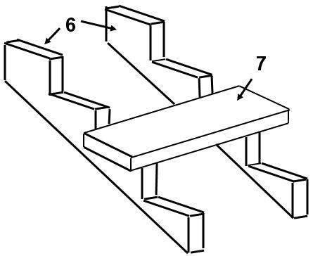 Схема: 6 - Опорные балки, 7 - проступень