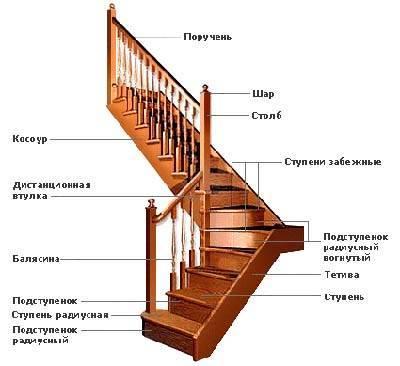 Составные части лестничной конструкции