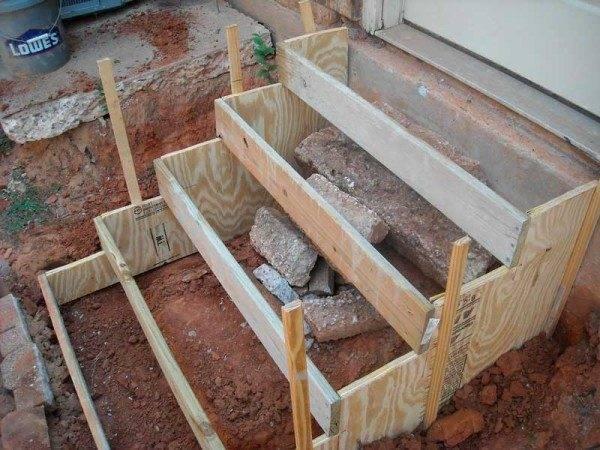 Установленная деревянная опалубка