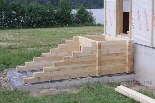 Вариант конструкции лестницы без косоуров