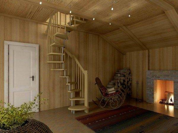 Винтовая лестница занимает минимум полезной площади помещения.