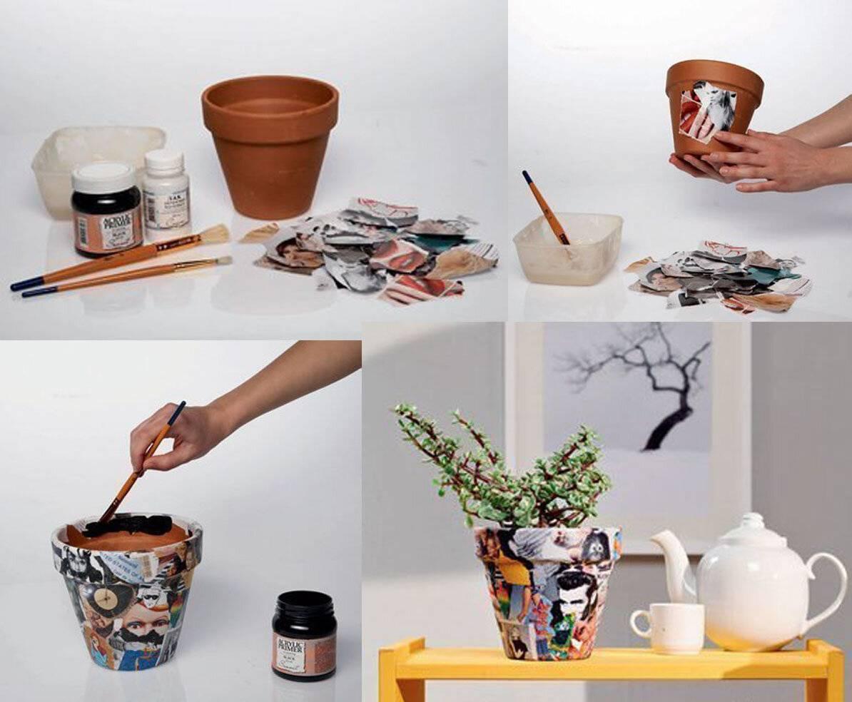 Как оформить цветочный горшок своими руками фото