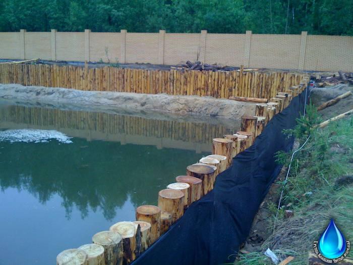 Как правильно укрепить пруд лиственницей