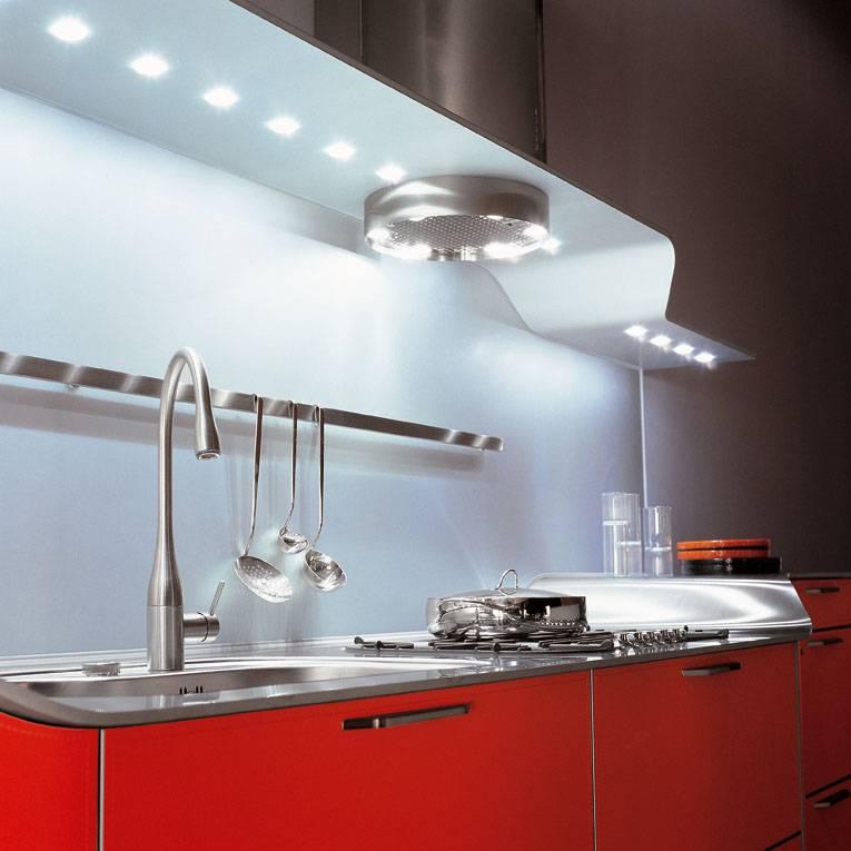 светодиодные светильники на кухне фото