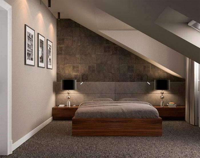 Спальня на мансарде в частном деревянном доме, оформление интерьера с фото