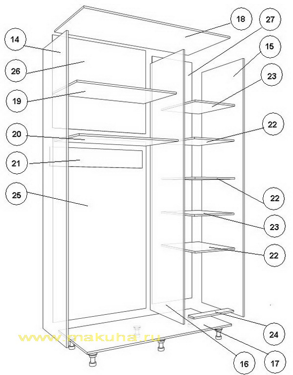 Как сделать шкаф купе своими руками: чертежи, описание изготовления, схемы с размерами