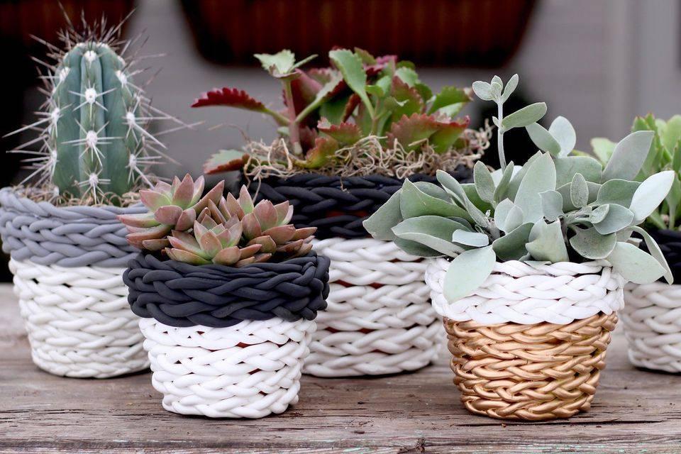 Оригинальные идеи декора горшков для цветов своими руками