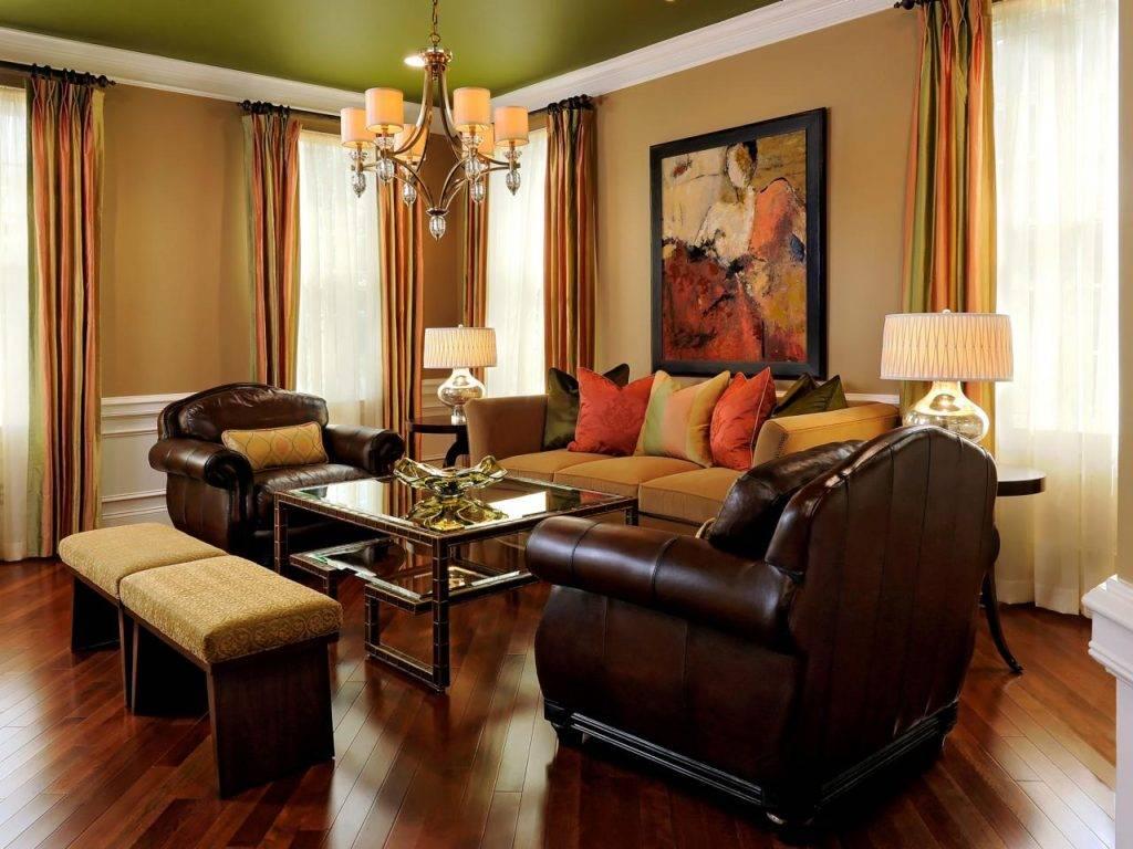 Цвет стен в гостиной: сочетание различных тонов в интерьере комнаты, фото