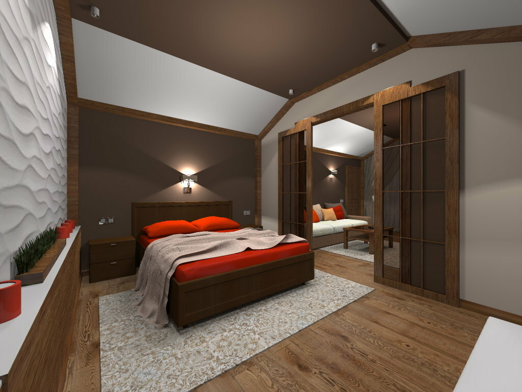 Особенности обустройства интерьера спальни в мансарде