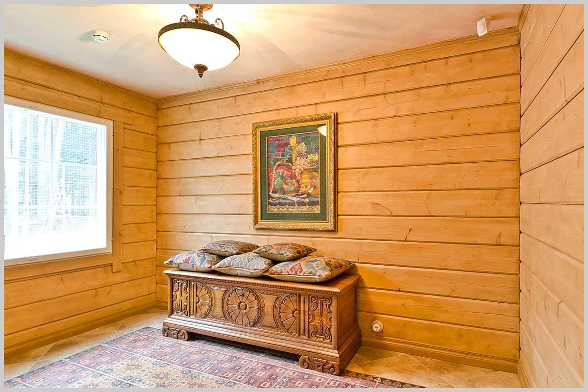 комната из блокхауса и двери сочетание фото иглу