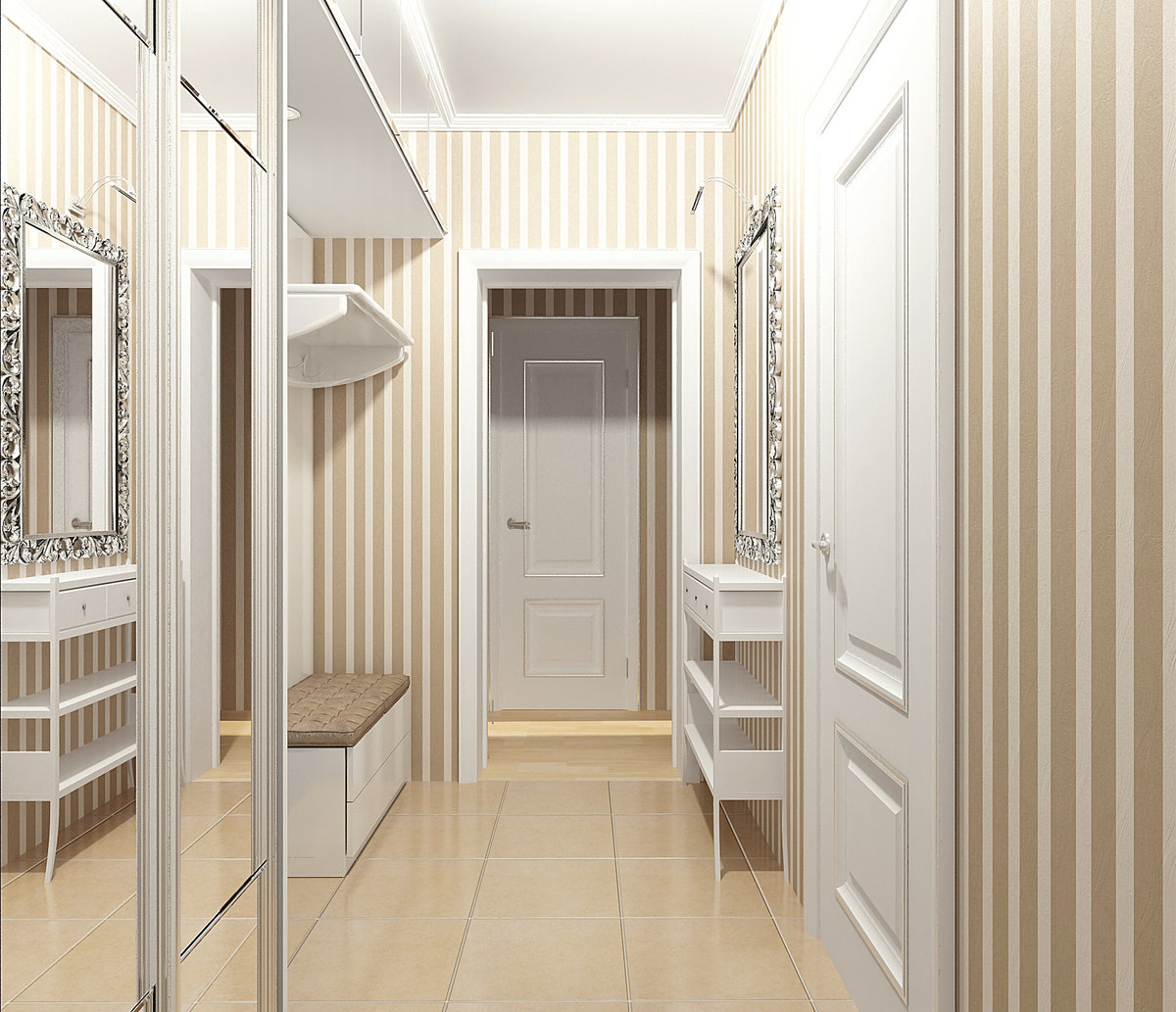 Прихожая для узкого коридора дизайн фото