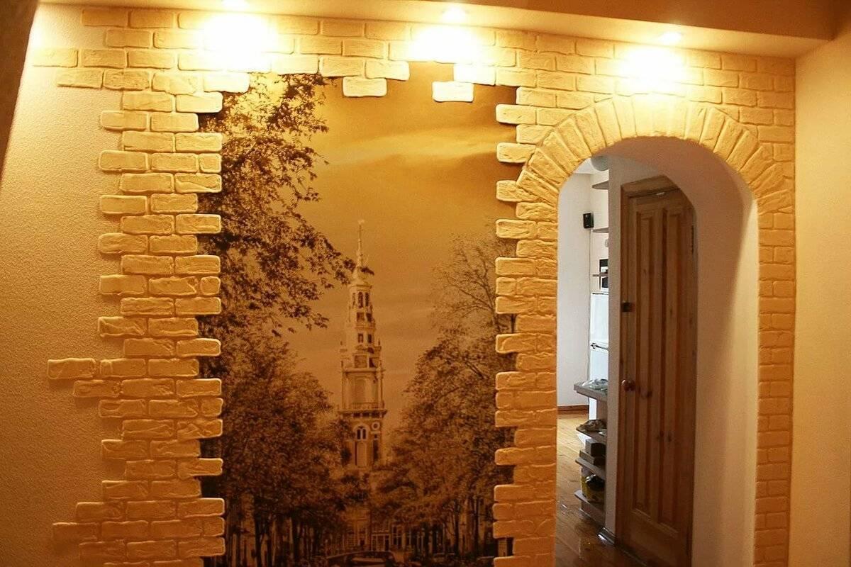 Отделка стен декоративным камнем в прихожей фото