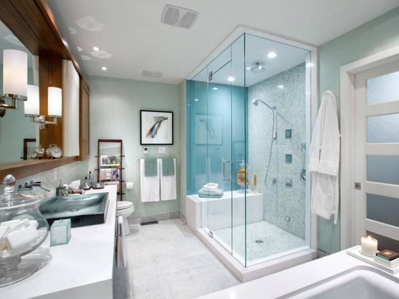 Дизайн ванной комнаты с душевой кабиной (80 фото): уголок из плитки в маленькой ванной комнате, планировка пространства и варианты-2020 интерьеров санузла