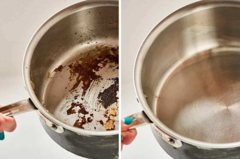 Методы очистки кастрюли от пригоревшей пищи и нагара