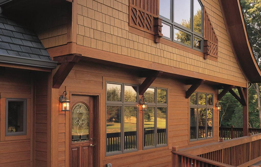 Отделка фасада деревянного дома фото