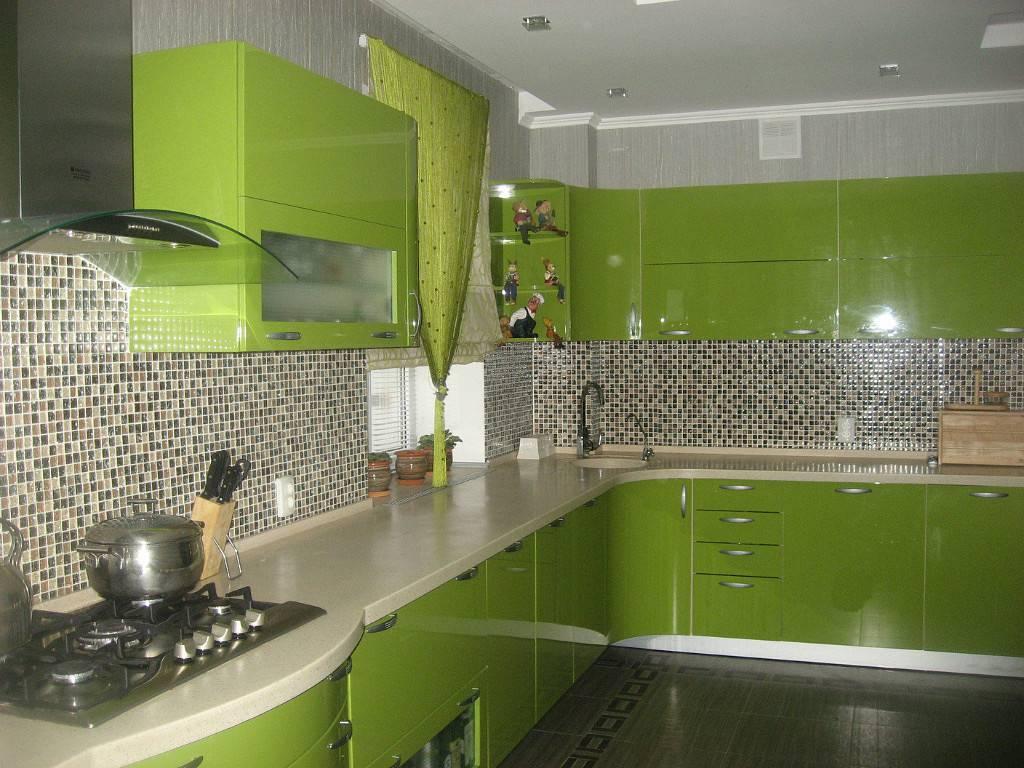 Зеленый кафель в кухне картинки