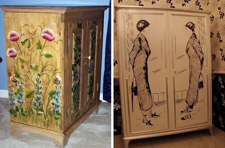 Декупаж старого шкафа фото до и после очень