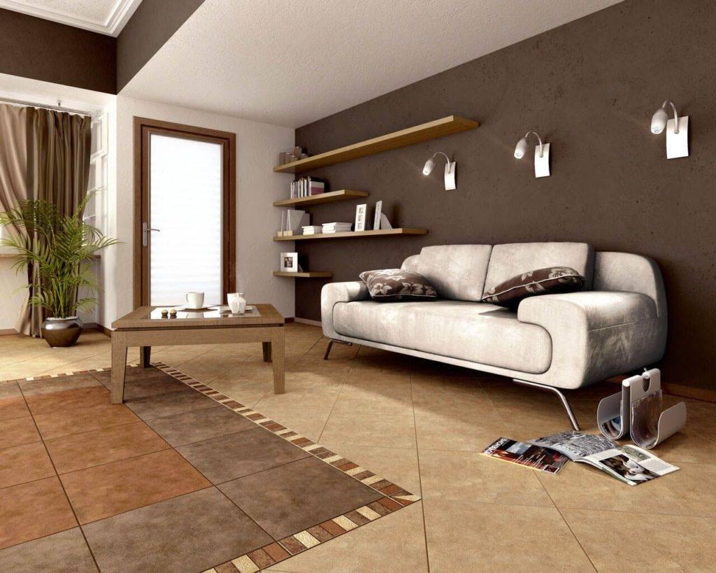 Гостиная в бежево коричневых тонах (фото)