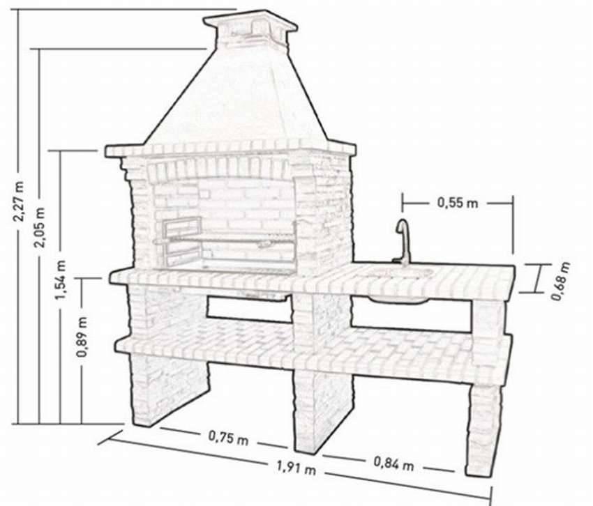 Схема и чертежи постройки барбекюшницы фото