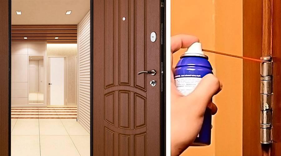 Инструкция, как не снимая дверь, смазать петли на двери в домашних условиях