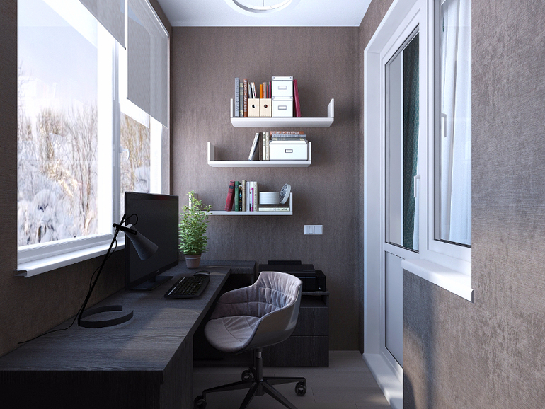 Дизайн кабинета на балконе (33 фото): креативные примеры спальни