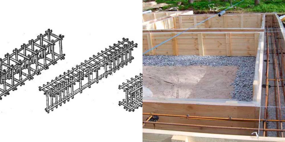 Устройство каркаса из арматуры под ленточный фундамент