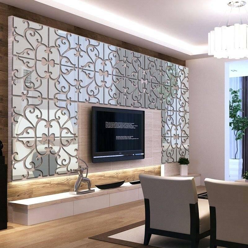 как украсить стену с телевизором фото материалом