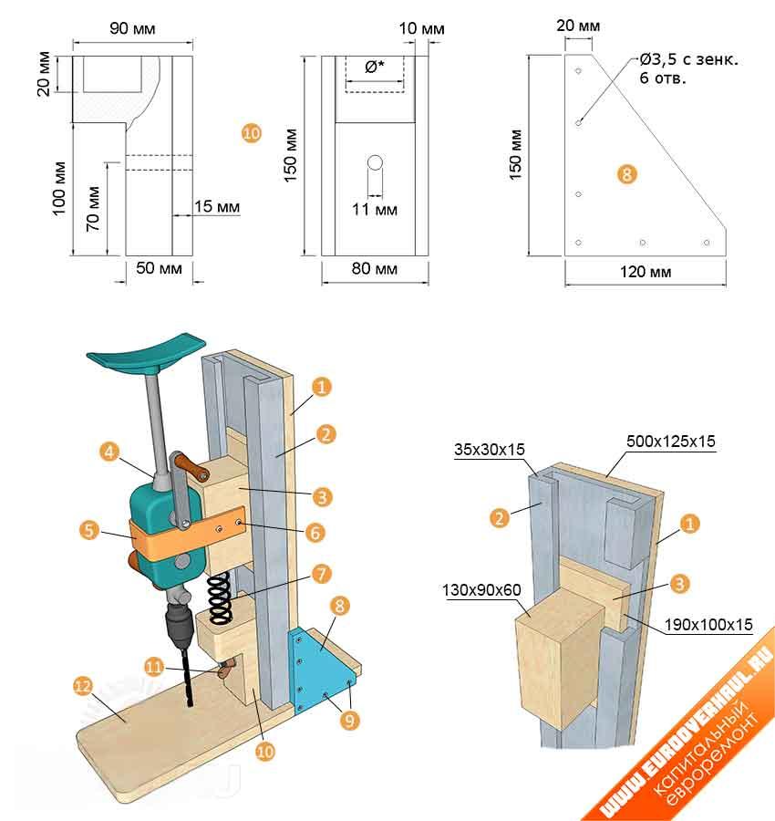 Как изготовить самодельную стойку для дрели