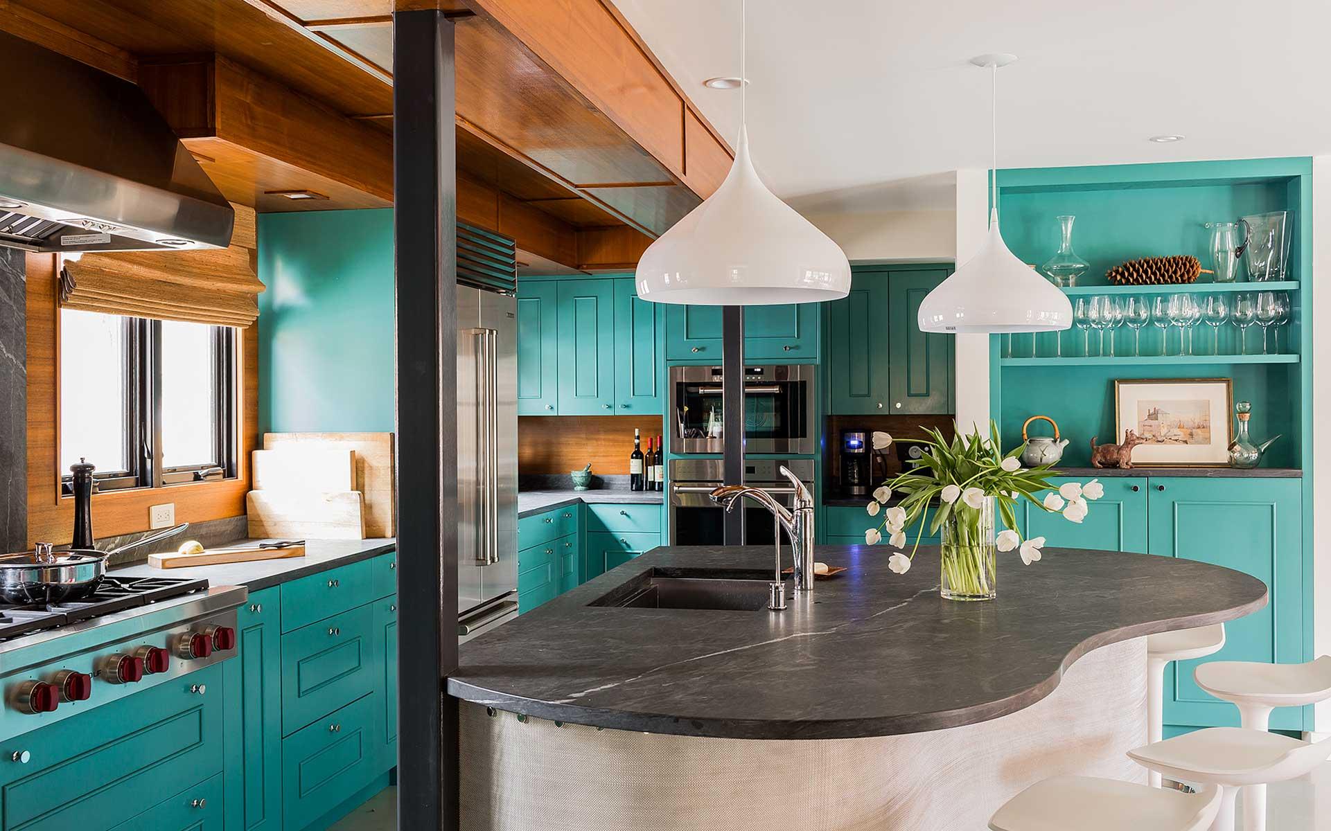 Бирюзовая кухня: 80 красивых идей дизайна (фото)