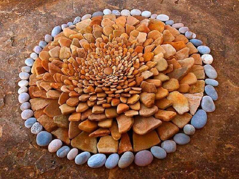 Клумбы из ракушек речного камня фото