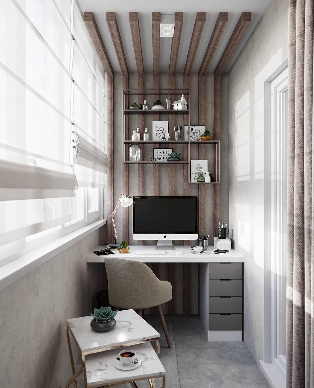 Кабинет на балконе — как его оформить? обзору лучших идей на 75 фото!