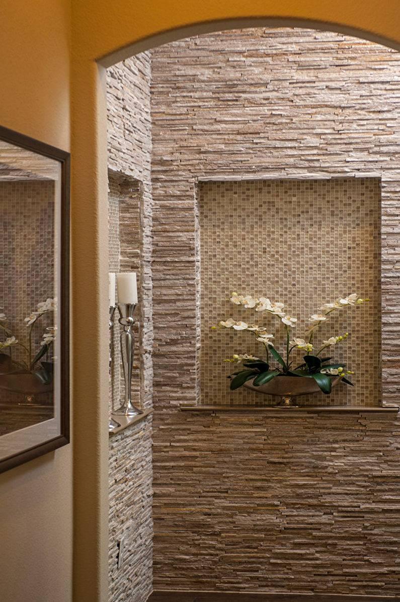 декор коридора искусственным камнем фото коллекции