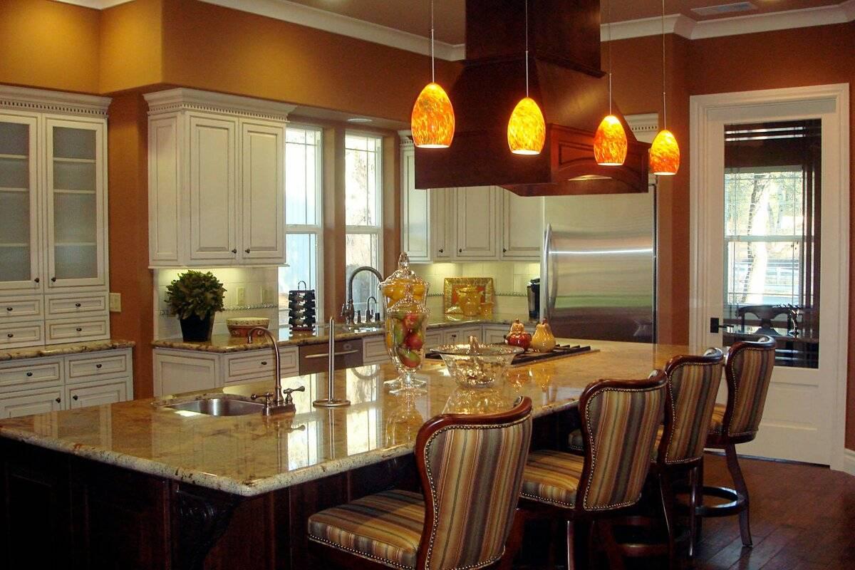 Освещение на кухне: правила размещения источников света и расчет мощности (90 фото)
