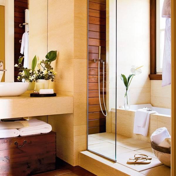 Интерьер в ванной с душевой: фото дизайна душевой кабины с перегородкой, 2 в 1