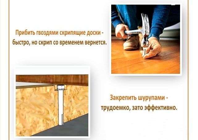 Способы, как своими руками устранить скрип деревянных полов без разборки