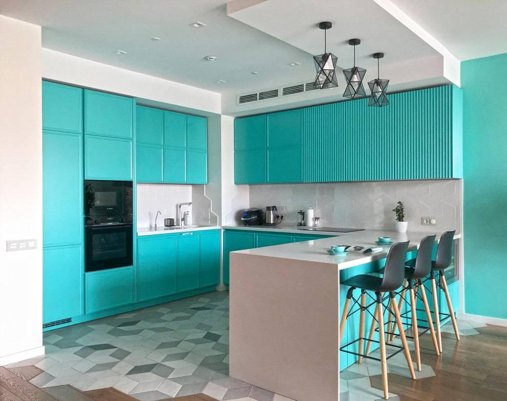 Бирюзовая кухня в дизайне интерьера