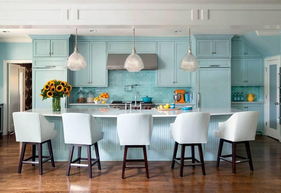 Бирюзовый цвет в интерьере кухни: фото, стилевые решения и особенности оформления, сочетание бирюзы с другими цветами, отзывы