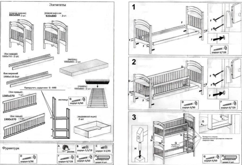 Схема и пошаговая инструкция, как своими руками собрать детскую кроватку